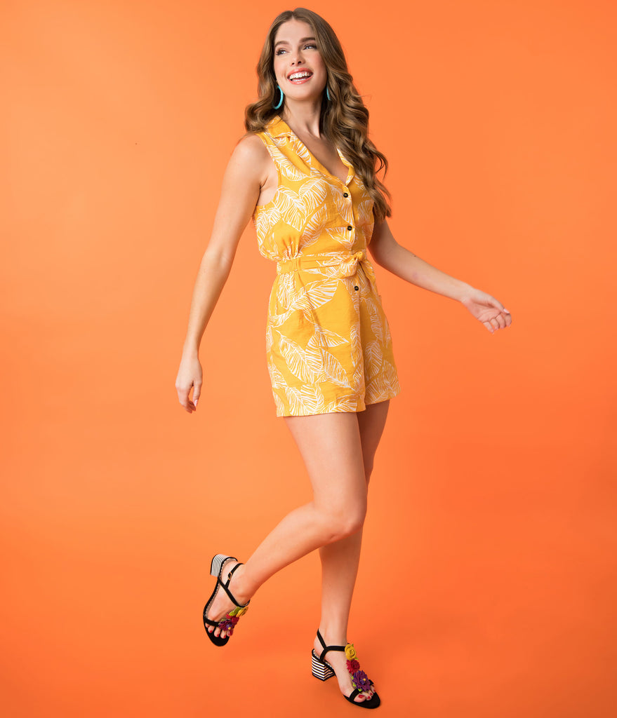 Retro Style Yellow & Ivory Tropical Palm Leaf Print Romper