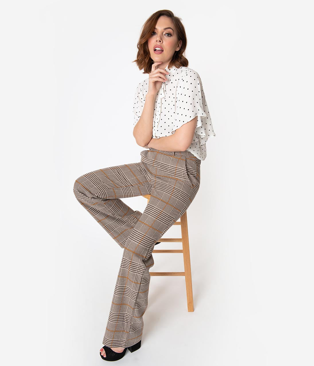 Vintage High Waisted Trousers, Sailor Pants, Jeans 1940S Style Brown Plaid Woven Shelly Pants $48.00 AT vintagedancer.com