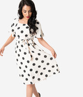 Modest A-line Scoop Neck Polka Dots Print Knit Gathered Vintage Stretchy Fitted Pocketed Short Sleeves Sleeves Midi Dress