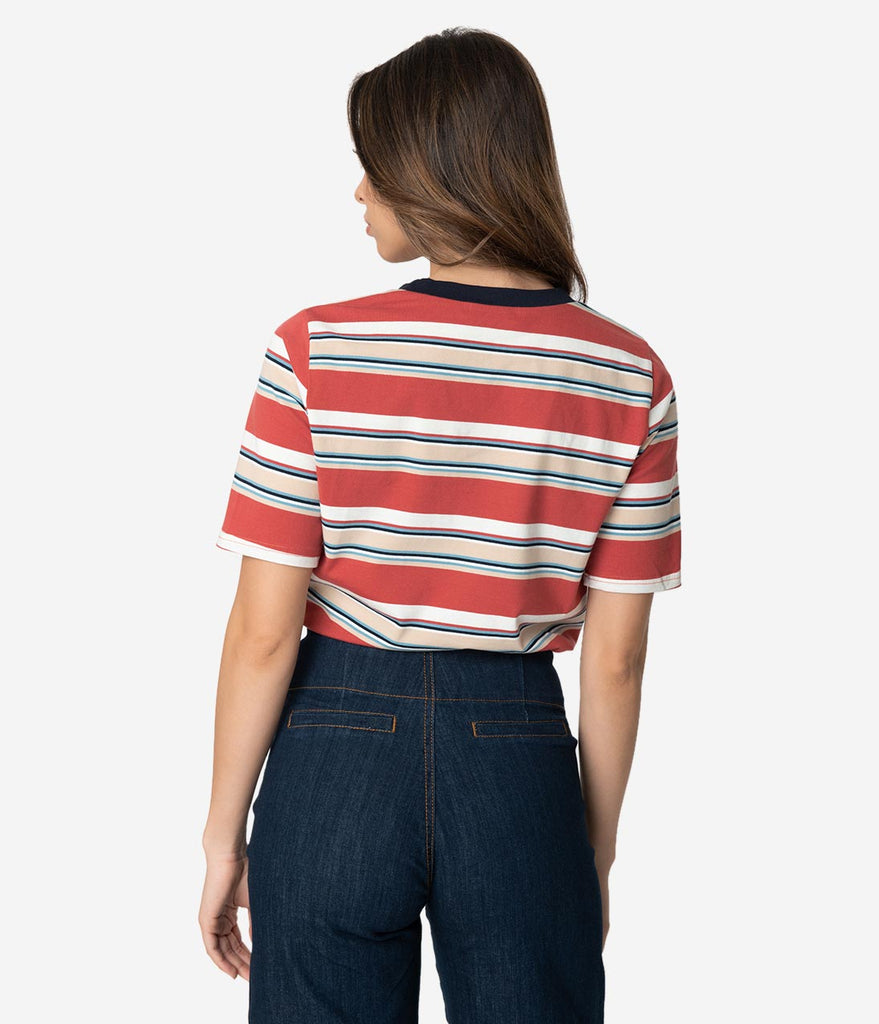 Retro Style Multicolor Striped Short Sleeve Cotton Top