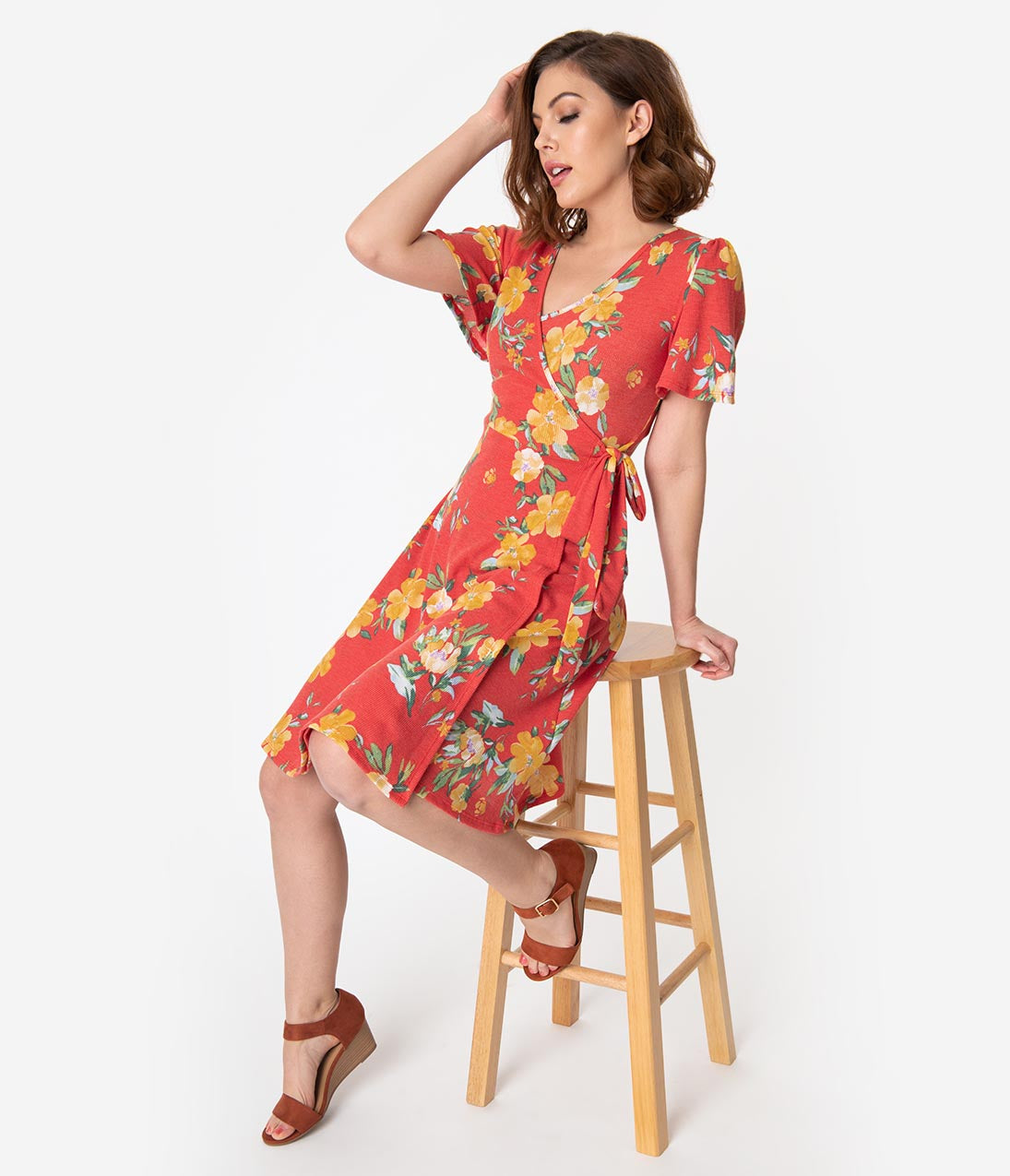 99a26bc55 Vintage Style Red   Yellow Floral Short Sleeve Faux Wrap Dress