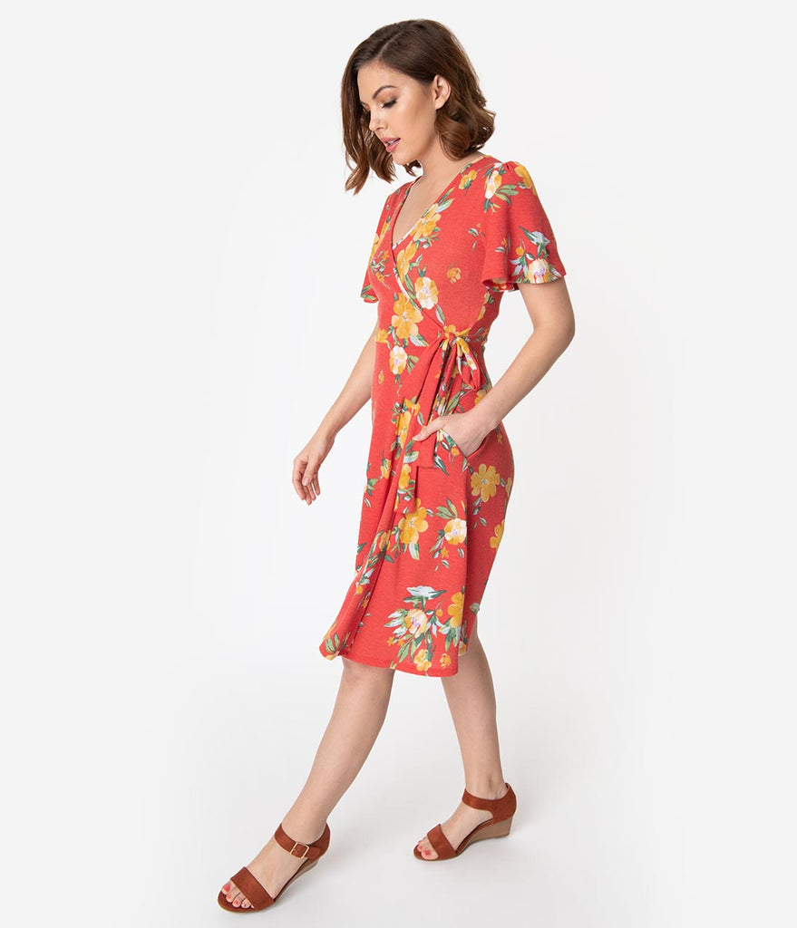 Vintage Style Red & Yellow Floral Short Sleeve Faux Wrap Dress