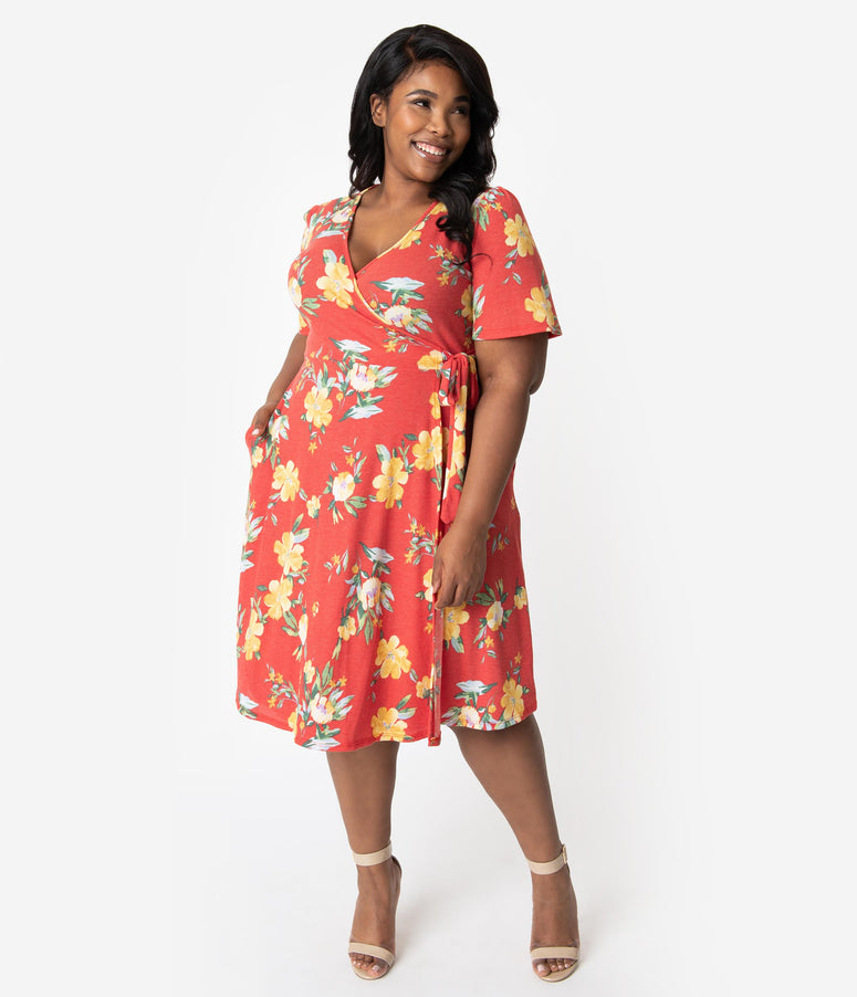 Plus Size Vintage Style Red & Yellow Floral Short Sleeve Faux Wrap Dress