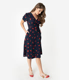 Retro Style Navy & Red Cherry Print Short Sleeve Wrap Dress