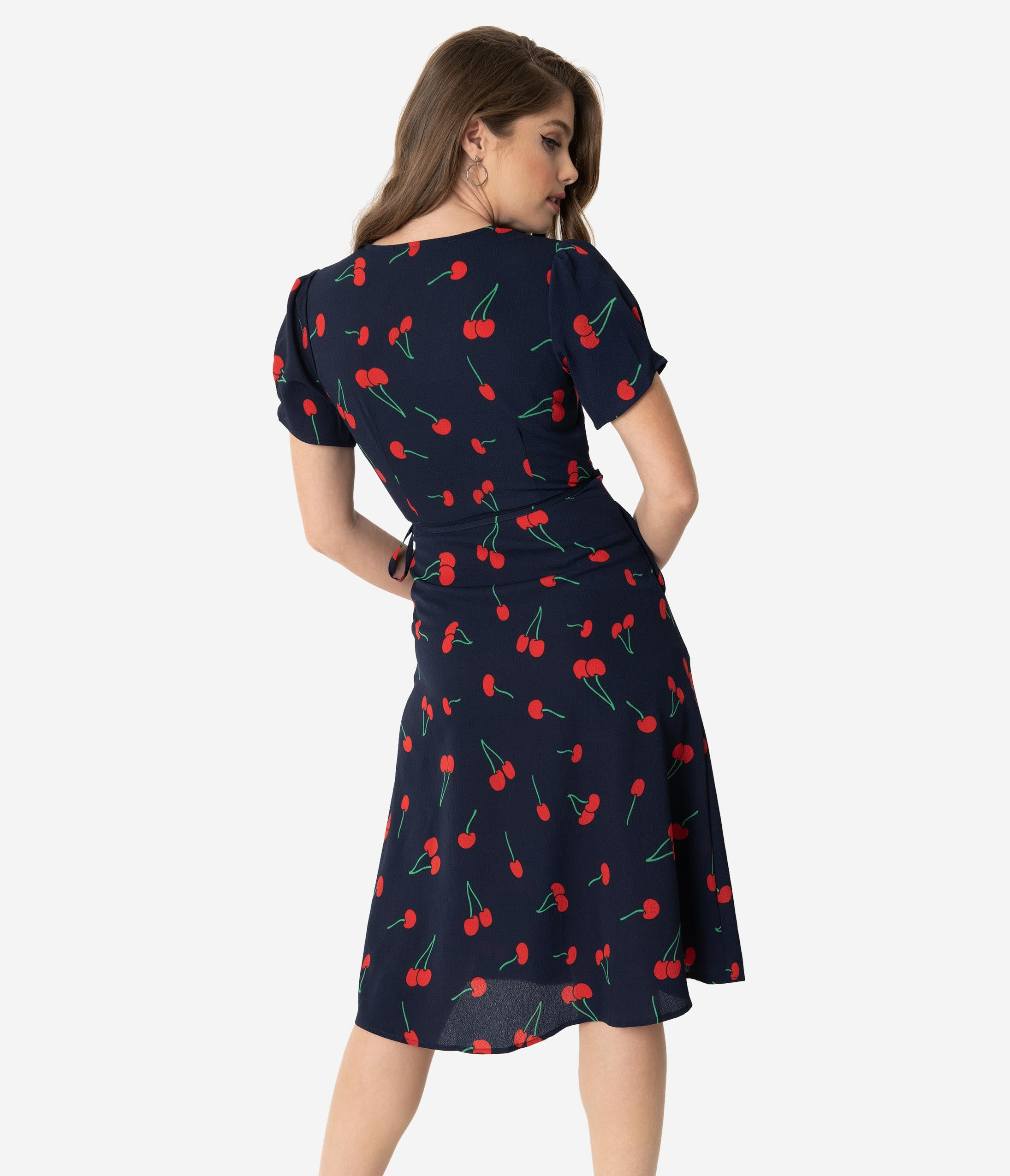 ffd9f749d00c1 Retro Style Navy & Red Cherry Print Short Sleeve Wrap Dress