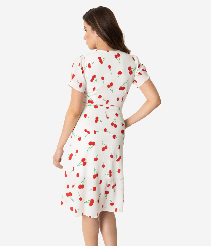 0a856c5a4f3 ... Retro Style White   Red Cherry Print Short Sleeve Wrap Dress ...