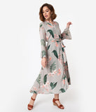 Dove Grey & Pink Floral Botanical Long Sleeve Button Up Maxi Dress