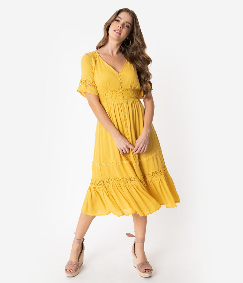 ecaed1cd142a Vintage Style Mustard Yellow Woven Lace Short Sleeve Midi Dress