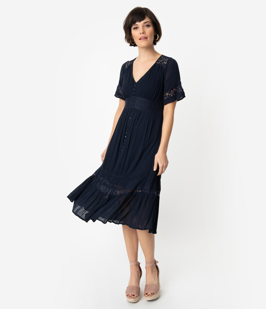 Vintage Style Navy Blue Woven Lace Short Sleeve Midi Dress