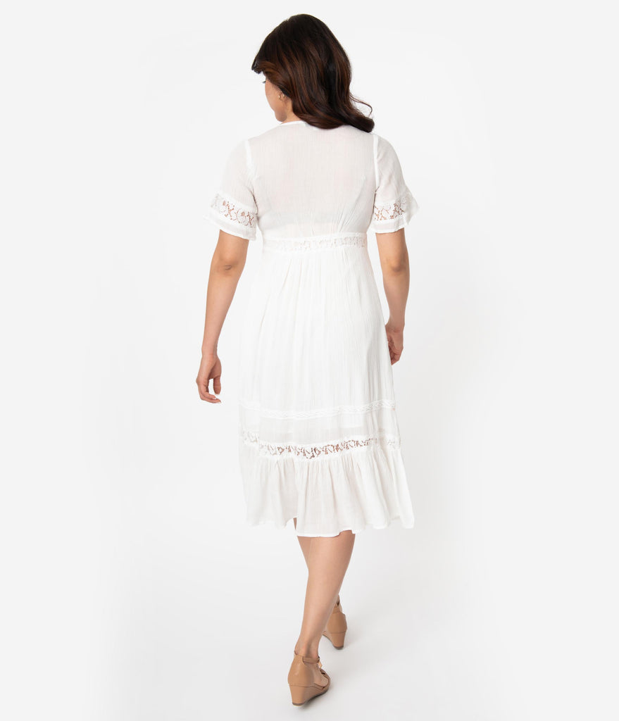 Vintage Style Off White Woven Lace Short Sleeve Midi Dress