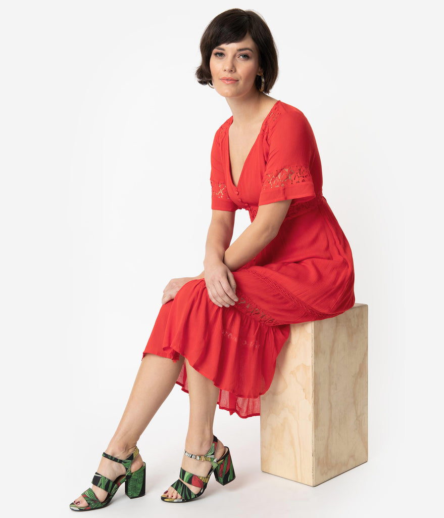 Vintage Style Tomato Red Woven Lace Short Sleeve Midi Dress