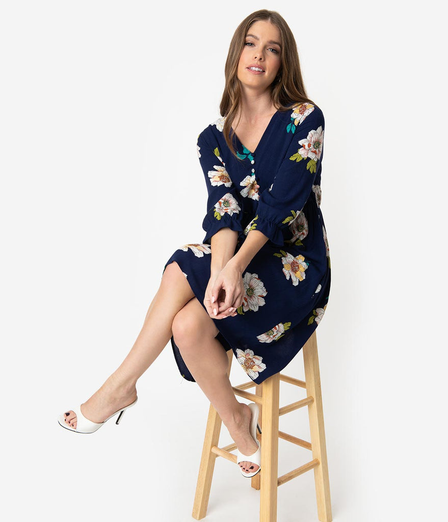 Retro Style Navy Floral Print Half Sleeved Fit & Flare Dress