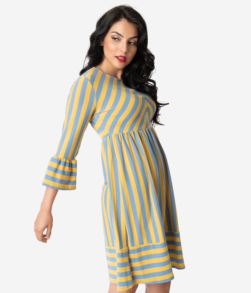 b550b9f930e1 Yellow   Grey Striped Cotton Knit Bell Sleeve Fit   Flare Dress – Unique  Vintage