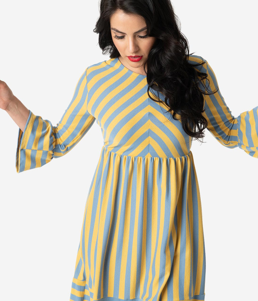 Yellow & Grey Striped Cotton Knit Bell Sleeve Fit & Flare Dress