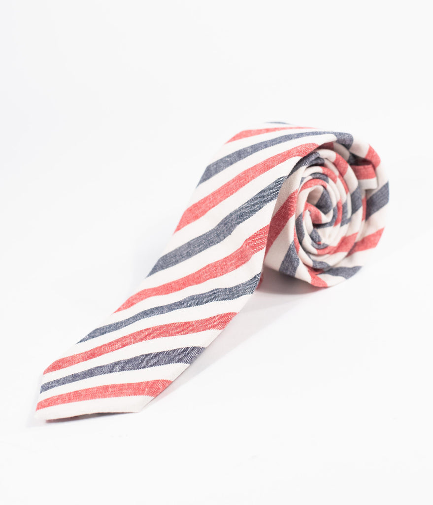 Red White & Blue Striped Woven Mens Tie