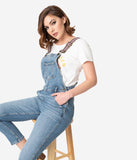 Retro Style Light Blue Denim Jean Cropped Overalls