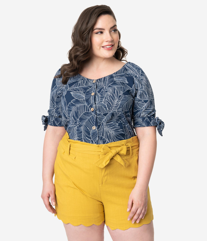 Plus Size Mustard Cotton Stretch Paper Bag Scalloped Shorts