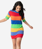 Rainbow Striped Short Sleeve Knit Shift Dress