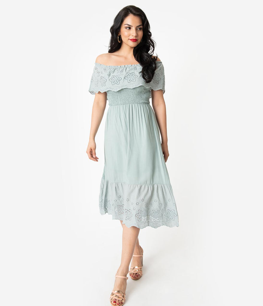 4a9cc3c9957e Mint Ruffled Eyelet Lace Off The Shoulder Midi Dress – Unique Vintage
