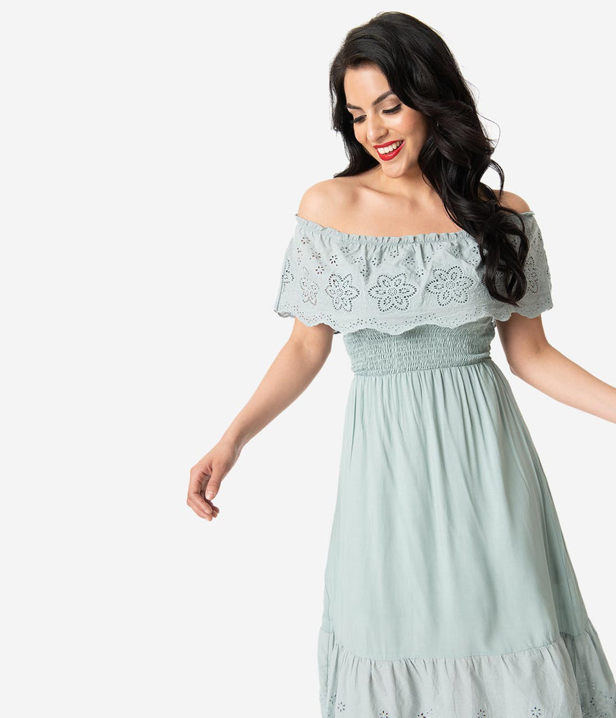 8da93ccb47f Mint Ruffled Eyelet Lace Off The Shoulder Midi Dress – Unique Vintage