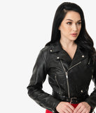 Vixen By Micheline Pitt Black Vegan Leather Cropped Motorcycle Jacket