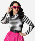 Vixen by Micheline Pitt Black & White Stripe Long Sleeve Girl Gang Crop Top