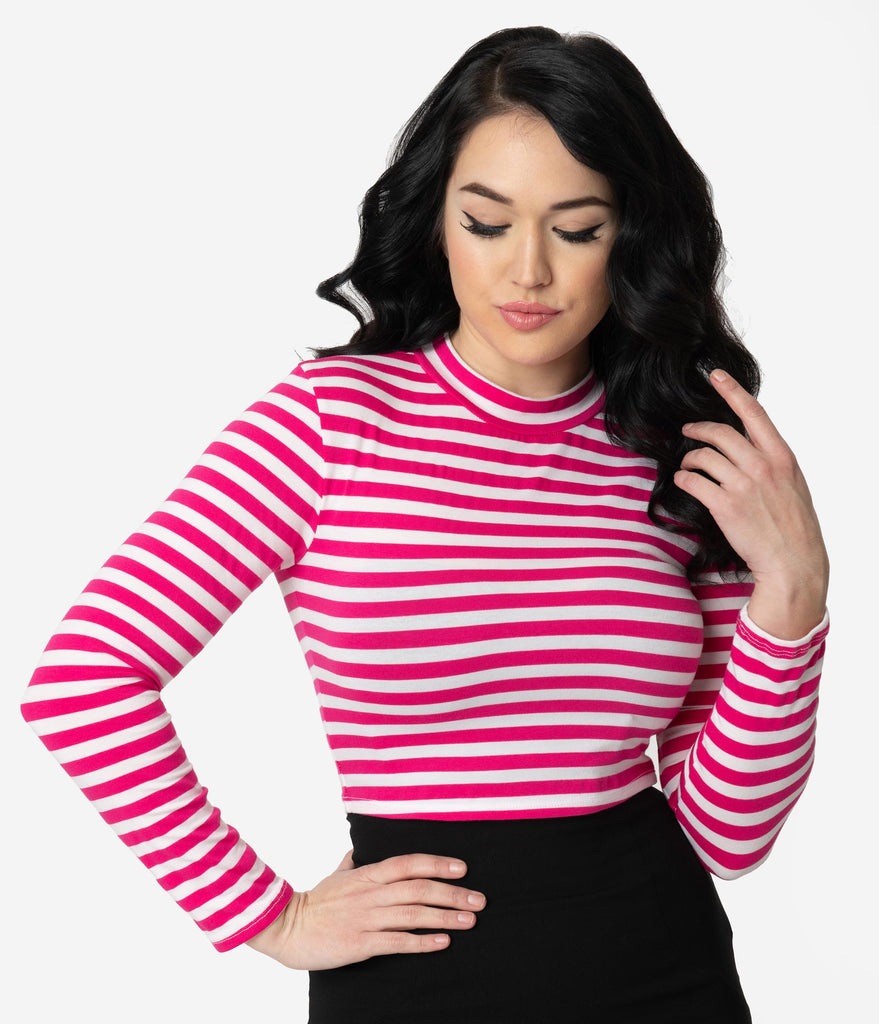 Vixen by Micheline Pitt Pink & White Stripe Long Sleeve Girl Gang Crop Top