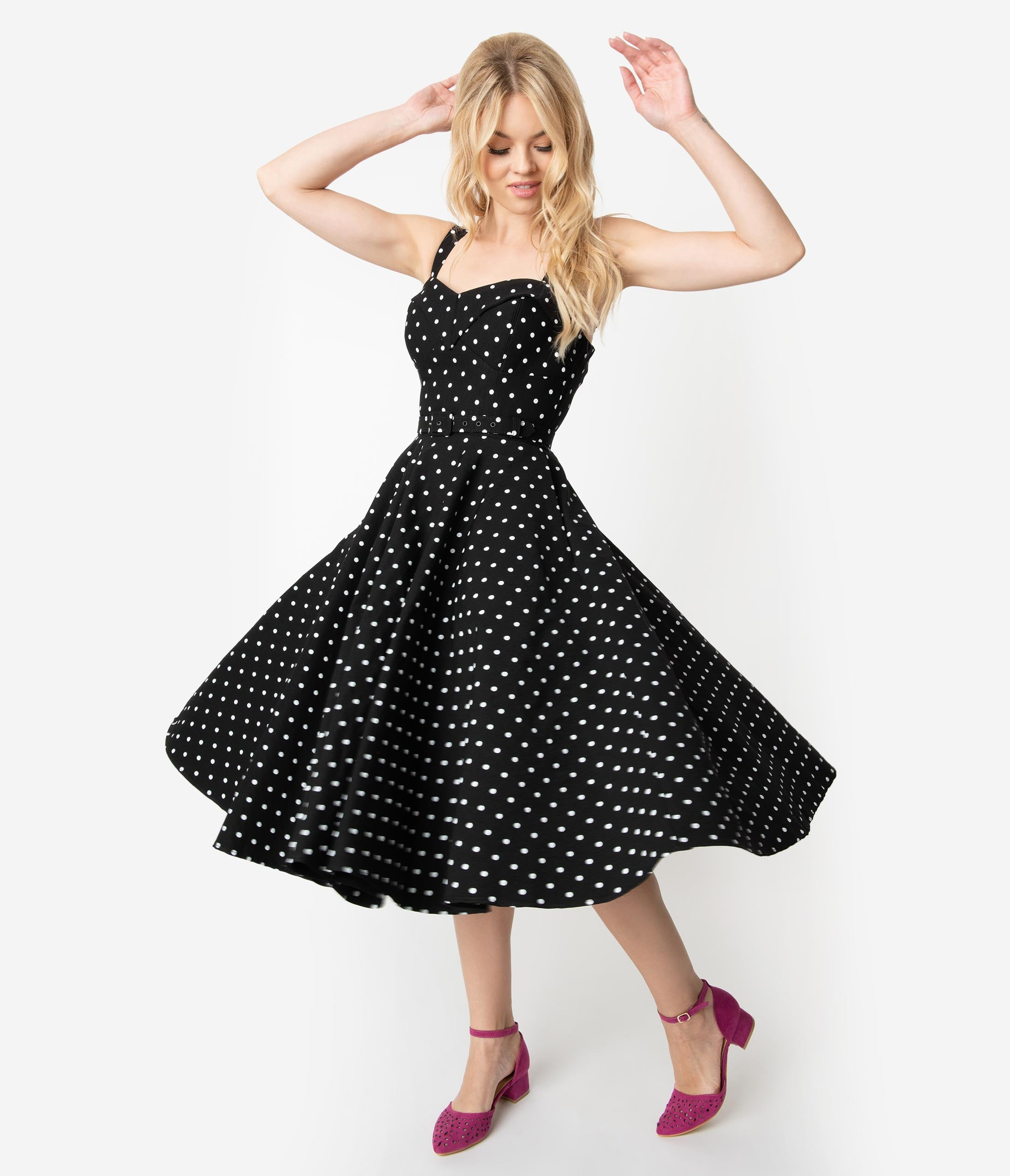 500 Vintage Style Dresses for Sale Vixen By Micheline Pitt Black  White Polka Dot Bengaline Maneater Swing Dress $142.00 AT vintagedancer.com