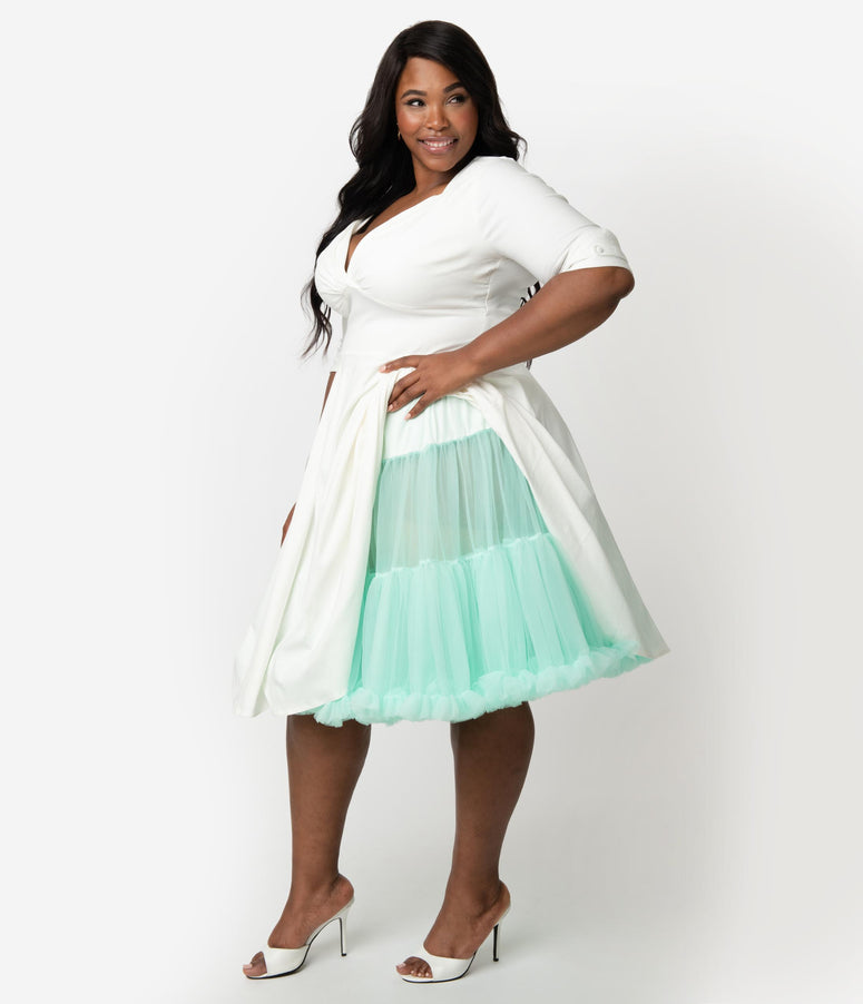 Unique Vintage Plus Size Mint Retro Style Ruffled Petticoat Crinoline