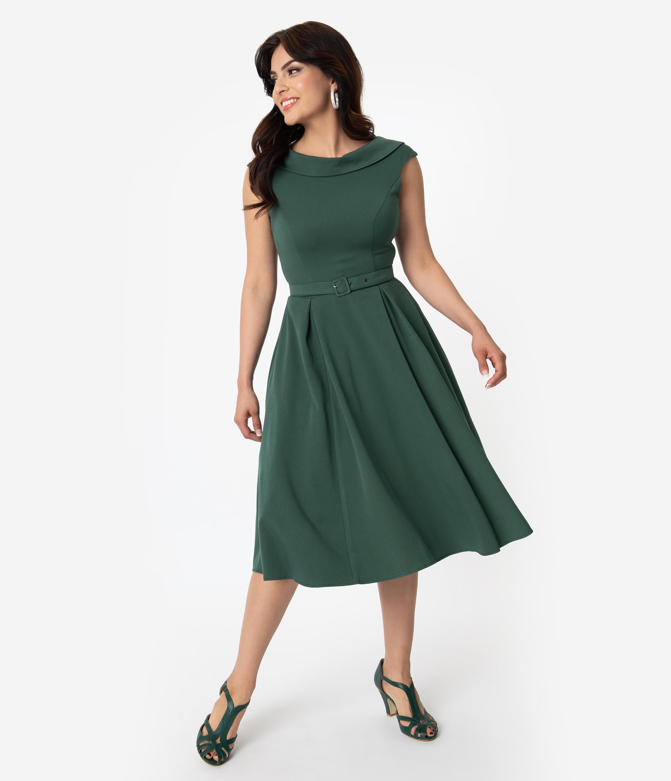 Modest Fitted Vintage Side Zipper Pleated Belted V Back Bateau Neck Cowl Neck Below the Knee Swing-Skirt Dress With a Bow(s)