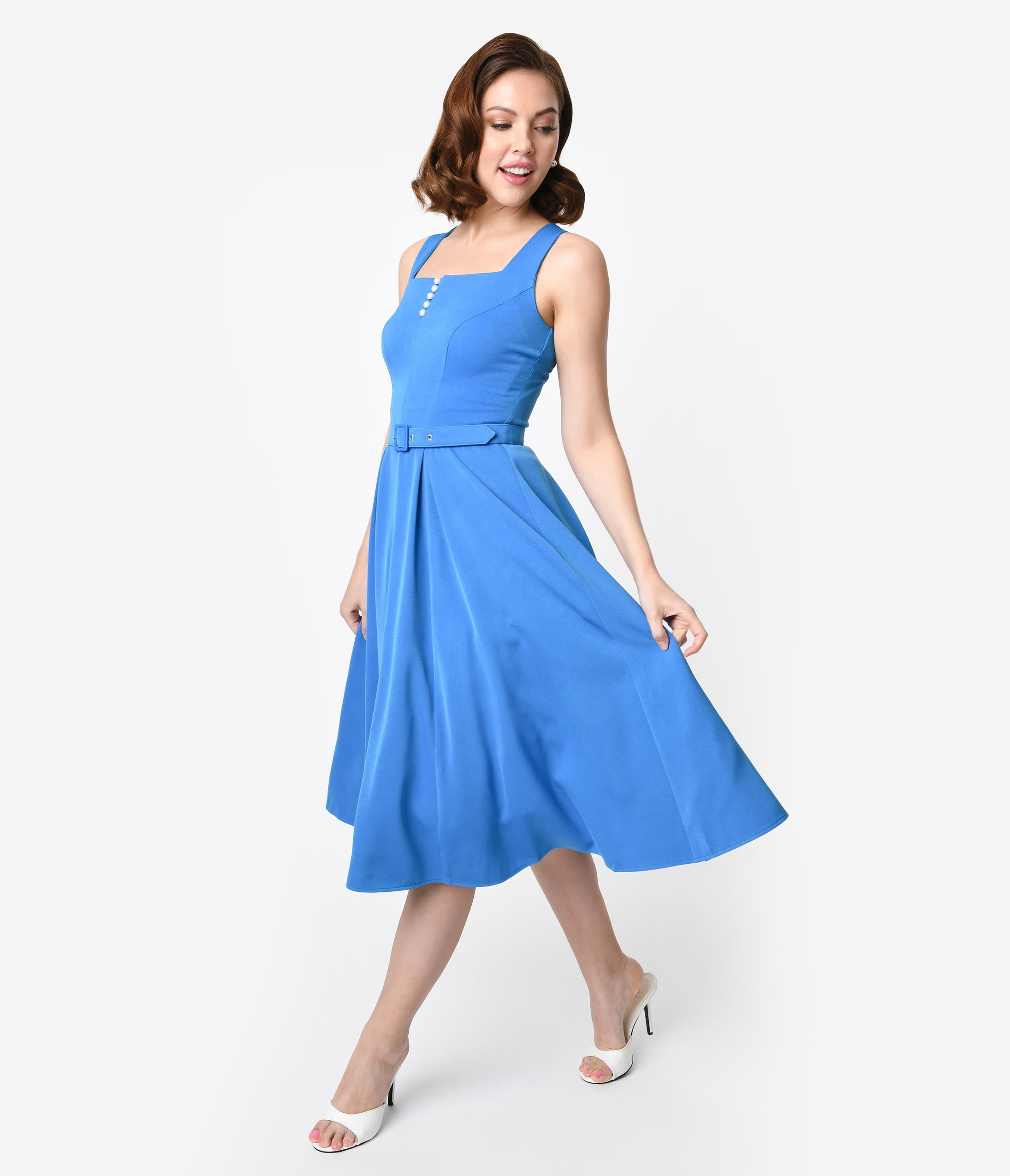 Pin Up Dresses | Pinup Clothing & Fashion Miss Candyfloss 1950S Style Blue Crepe Sleeveless Bella Swing Dress $89.00 AT vintagedancer.com