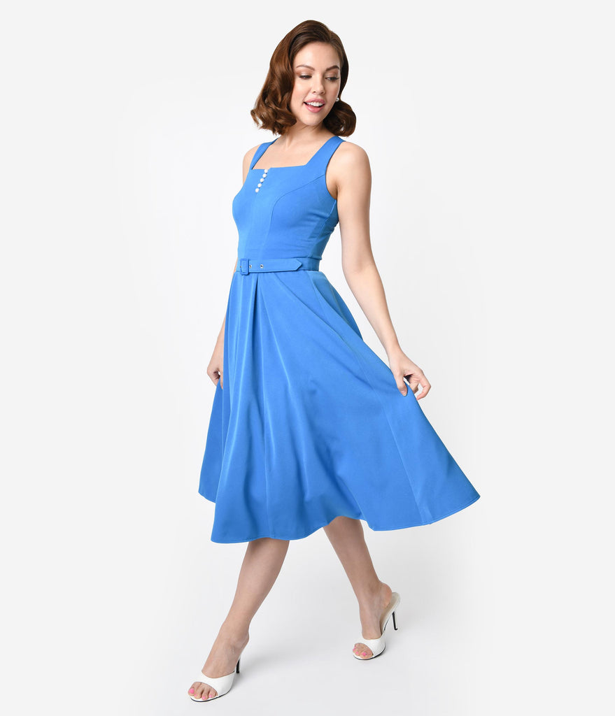 Miss Candyfloss 1950s Style Blue Crepe Sleeveless Bella Swing Dress