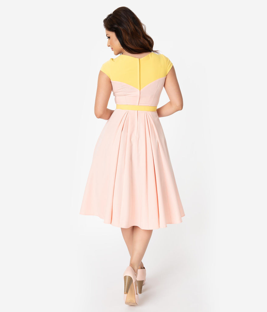 Miss Candyfloss 1950s Style Light Pink & Yellow Merryweather Swing Dress