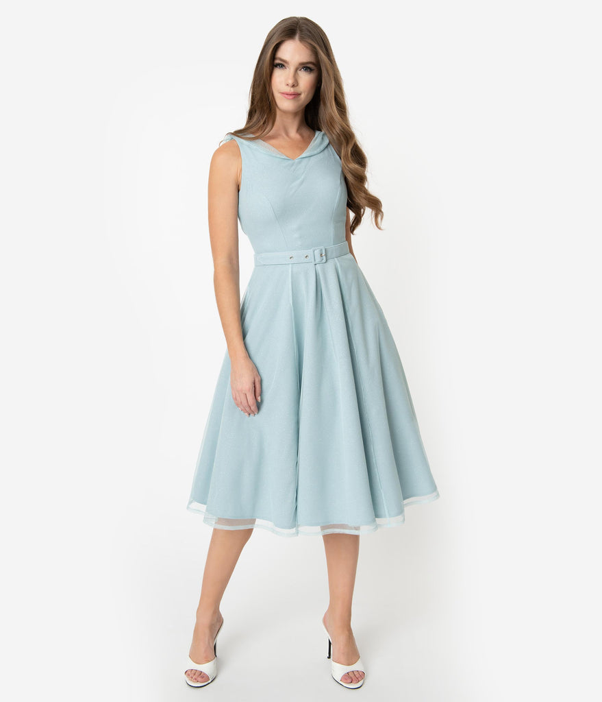 Miss Candyfloss Light Blue Sparkle Tulle Sleeveless Cinderella Swing Dress