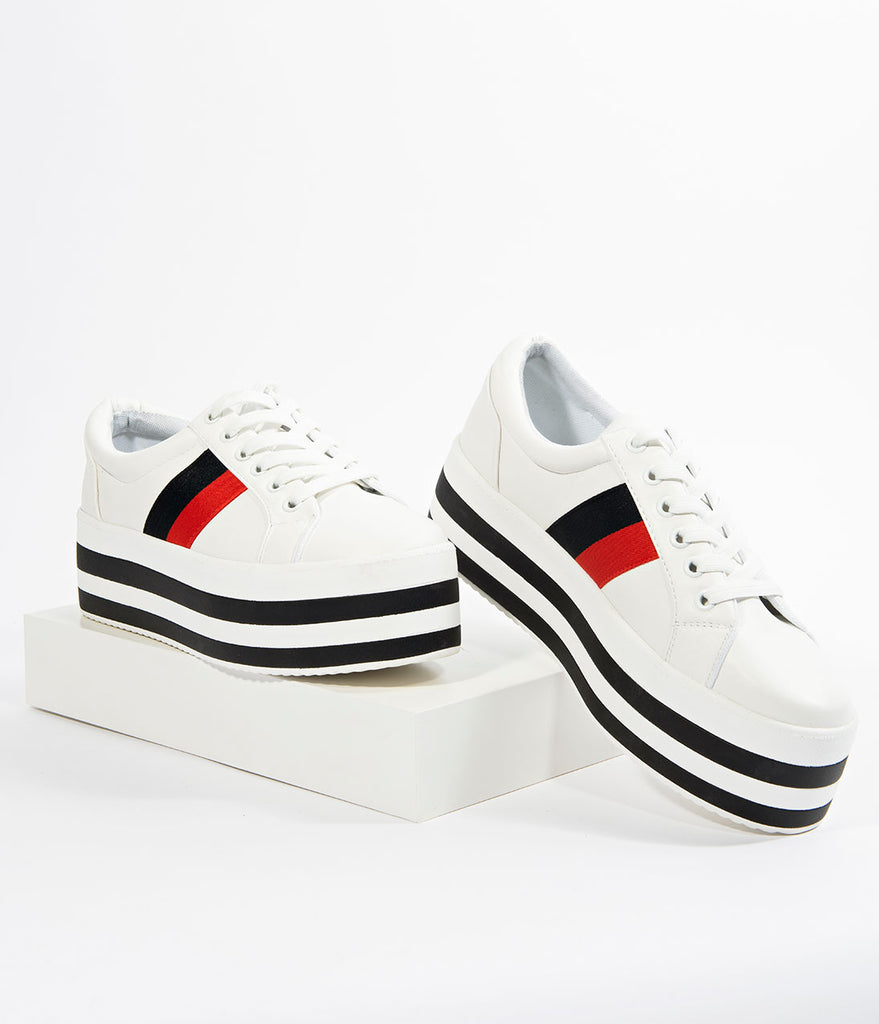 White Leatherette Striped Lace Up Platform Sneakers