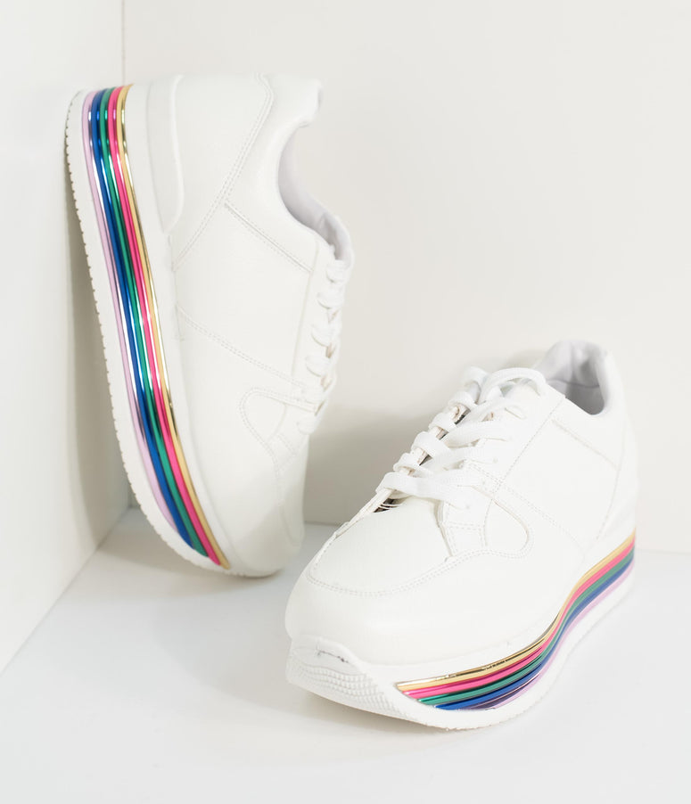 White Leatherette Rainbow Platform Lace Up Sneakers