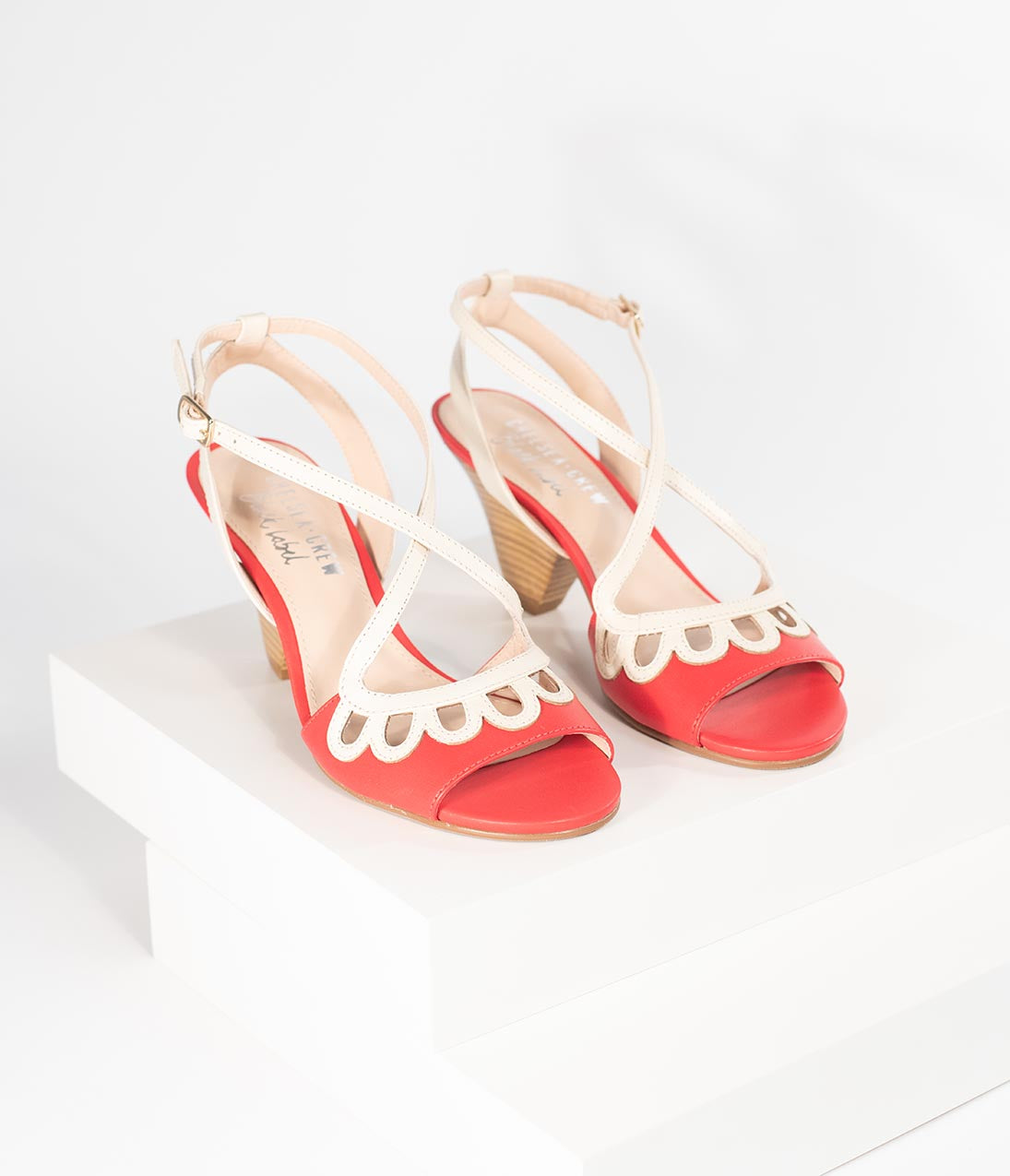 1950s Style Shoes | Heels, Flats, Saddle Shoes Chelsea Crew Red  Ivory Leather Peep Toe Judith Heels $88.00 AT vintagedancer.com
