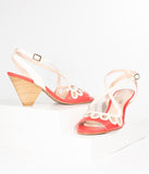 Chelsea Crew Red & Ivory Leather Peep Toe Judith Heels