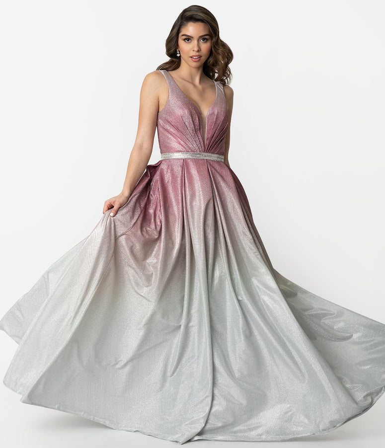 Rouge & Silver Ombre Sparkle Sleeveless Ball Gown