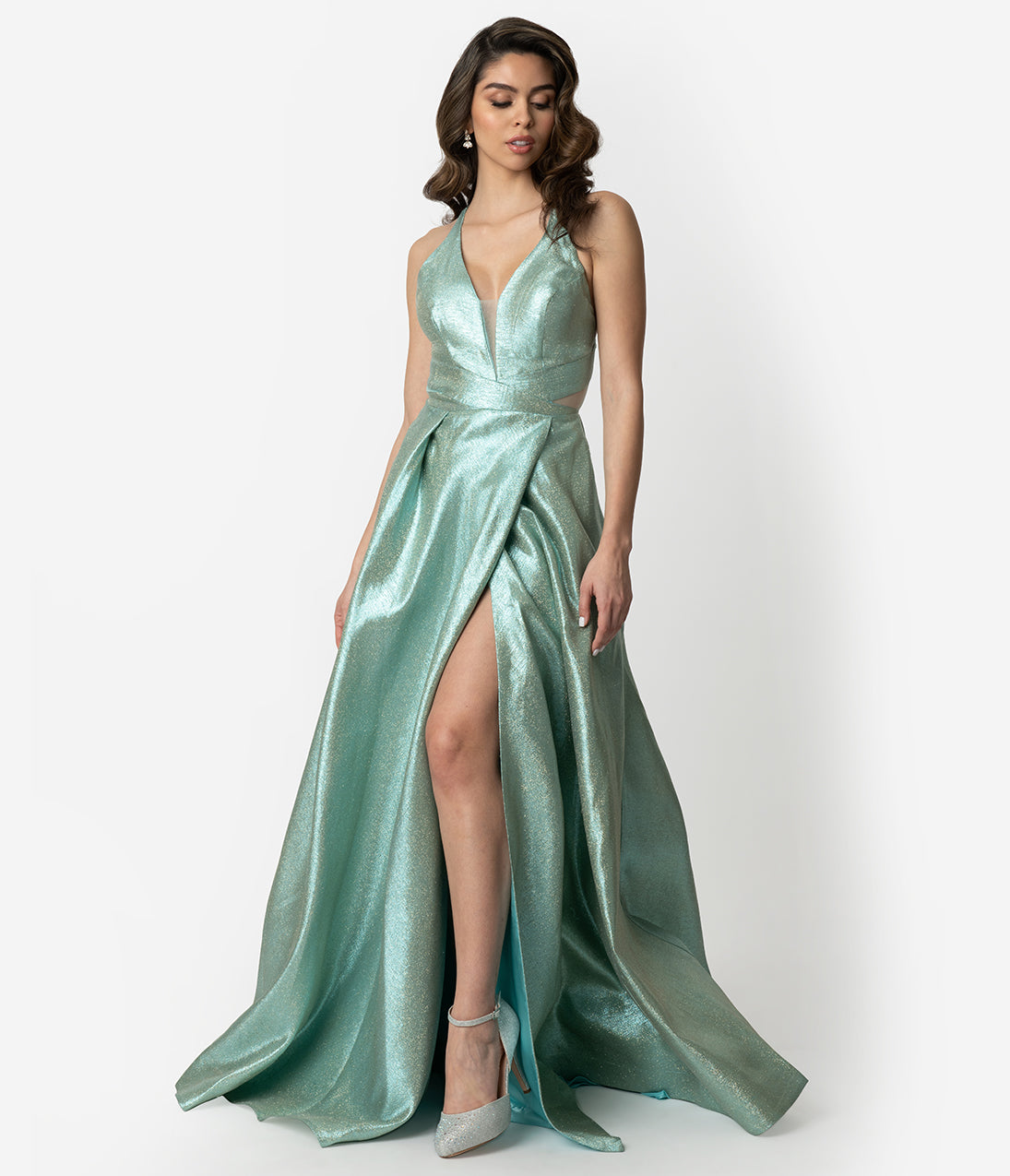Mint Blue Sparkle Sexy Sleeveless Long Gown e400a2094121