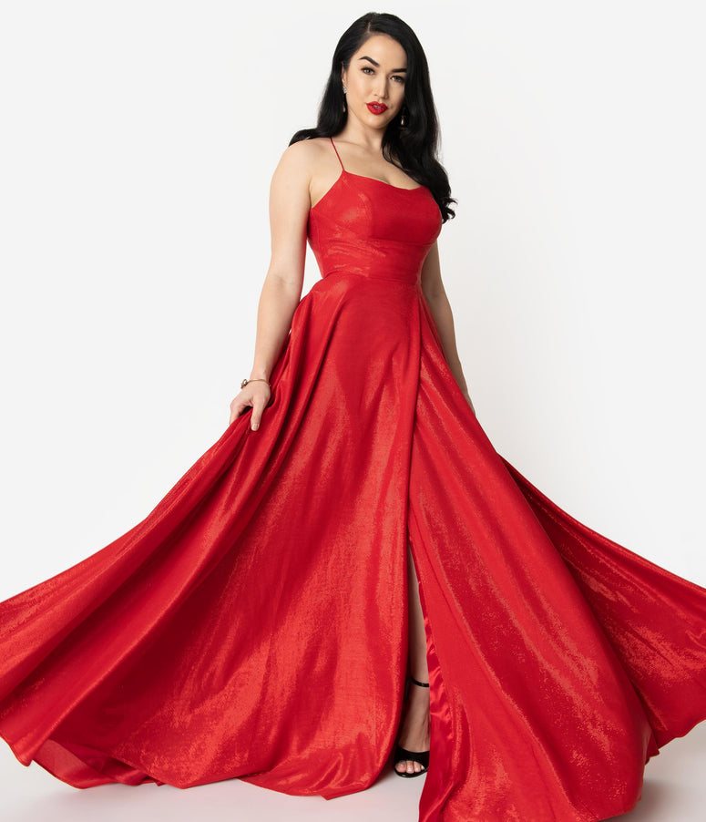 Red Sparkle Sexy Sleeveless Lace Up Long Dress