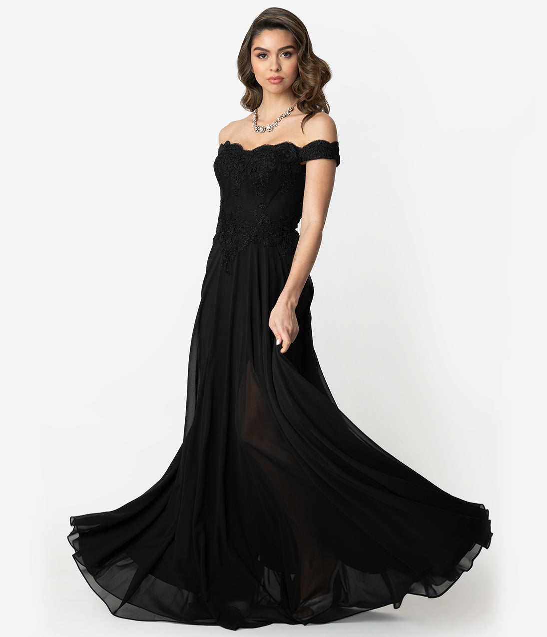 1980s Clothing, Fashion | 80s Style Clothes Black Lace Off The Shoulder Chiffon Long Gown $110.00 AT vintagedancer.com