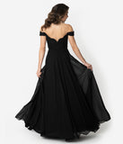 Black Lace Off The Shoulder Chiffon Long Gown