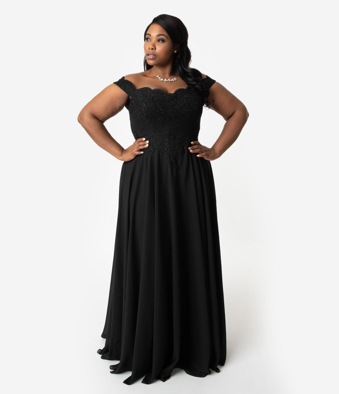 1960s – 70s Cocktail, Party, Prom, Evening Dresses Plus Size Black Lace Off The Shoulder Chiffon Long Gown $110.00 AT vintagedancer.com