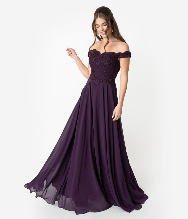 94b6fadb127 Eggplant Purple Lace Off The Shoulder Chiffon Long Gown