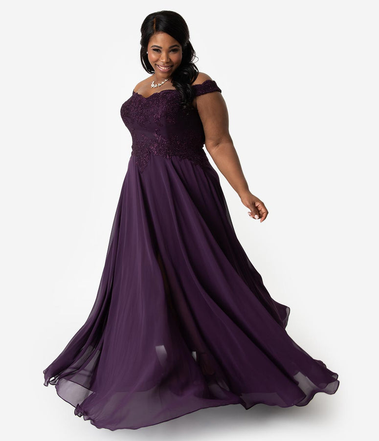 a9e0f1d574e Plus Size Eggplant Purple Lace Off The Shoulder Chiffon Long Gown
