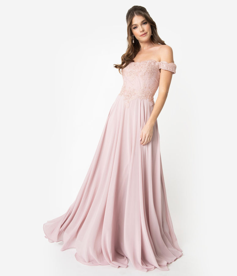 Mauve Pink Lace Off The Shoulder Chiffon Long Gown