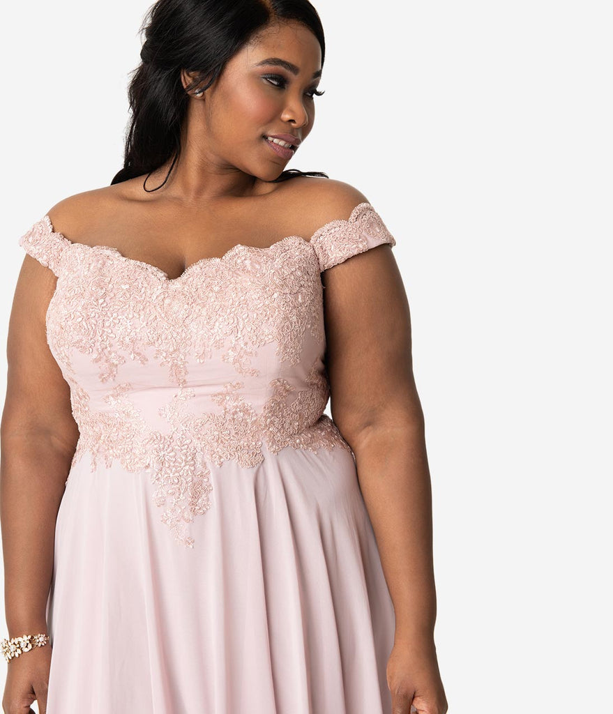 Plus Size Mauve Pink Lace Off The Shoulder Chiffon Long Gown