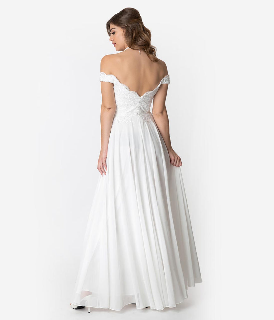 Off White Lace Off The Shoulder Chiffon Wedding Gown Unique Vintage