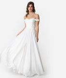 Off White Lace Off The Shoulder Chiffon Wedding Gown